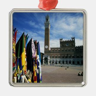 Europa, Italië, Toscanië, Siena. Piazza del Zilverkleurig Vierkant Ornament