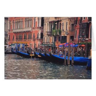 Europa, Italië, Venetië, gondels in kanaal Wenskaart