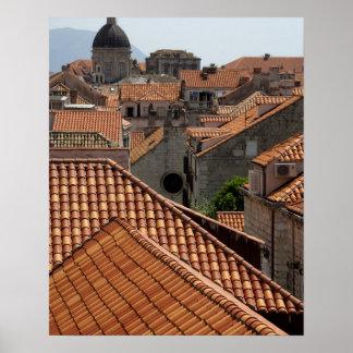 Europa, Kroatië. Middeleeuwse ommuurde stad van 2 Poster