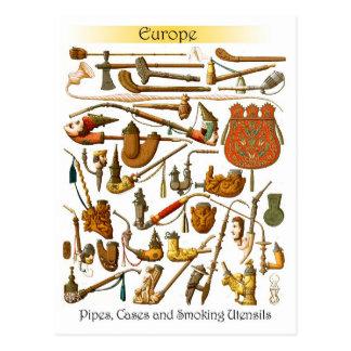 Europese rokende pijpen, hoesjes en werktuigen briefkaart