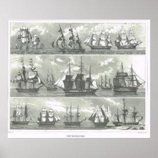 Europese schepen van diverse functies poster