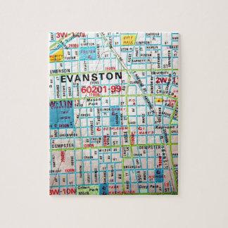 EVANSTON, de Vintage Kaart van IL Legpuzzel