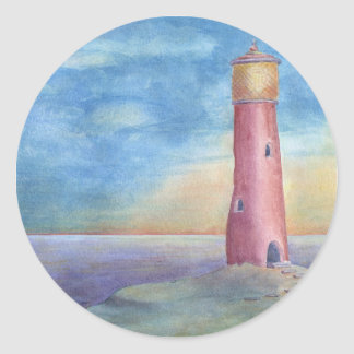 Evening at the lighthouse ronde sticker