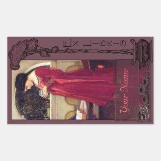Ex Libris - het Boek van de Kristallen bol bord-Uw Rechthoek Sticker