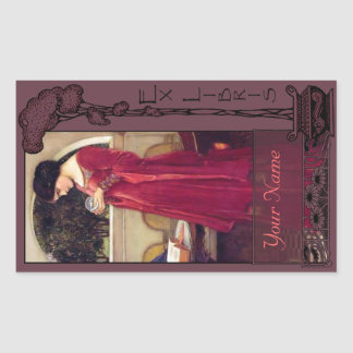 Ex Libris - het Boek van de Kristallen bol bord-Uw Rechthoekige Sticker
