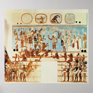 Exemplaar van een muurschilderij van Bonampak Poster