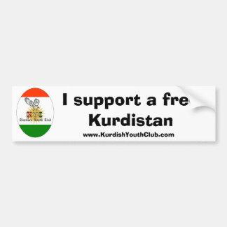 Exemplaar van kycflagg, steun ik vrij Koerdistan,  Bumpersticker