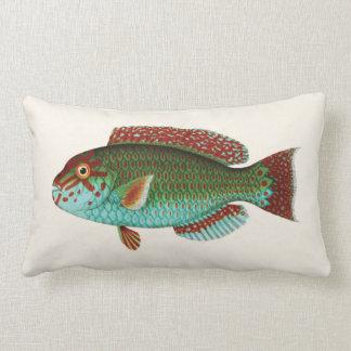 Exotische Tropische Vissen in Blauw Aqua en Rood Lumbar Kussen