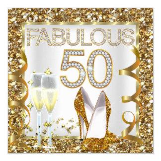 Fabelachtige 50 schitteren de Partij van de 13,3x13,3 Vierkante Uitnodiging Kaart