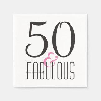 Fabelachtige Partij van Verjaardag 50   Zwarte Wegwerp Servetten