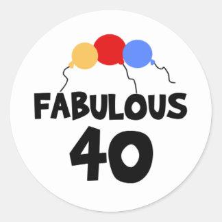 Fabelachtige Verjaardag 40 40ste Veertig Ronde Sticker
