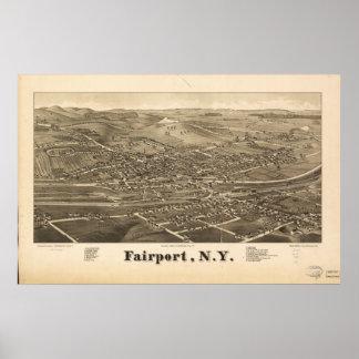 Fairport New York 1885 Antiek Panoramische Kaart Poster