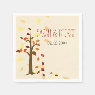 fall tree,  fall personalized wedding napkins paper napkins