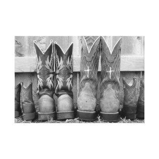 familie laarzen stretched canvas afdruk
