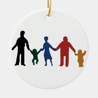 Familie Rond Keramisch Ornament