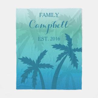 Familie van de Douane van de Palm van Aqua de Fleece Deken