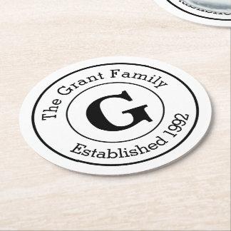 Familie van het Monogram van mod. de Zwart-witte Ronde Onderzetter