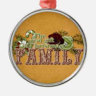 Familie Zilverkleurig Rond Ornament