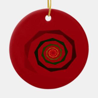 Fancy Fractal Kastanjebruin & Groene Werveling Rond Keramisch Ornament