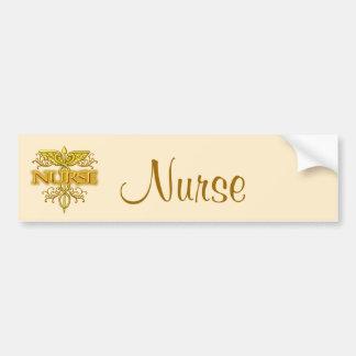Fancy Gouden Caduceus van de verpleegster Bumperstickers