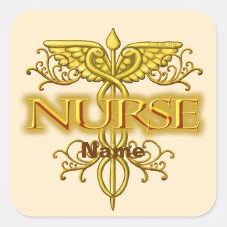 Fancy Gouden Caduceus van de verpleegster Vierkante Sticker