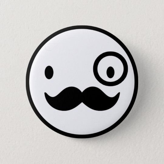 fancy mustchace smiley face ronde button 5,7 cm