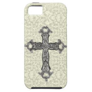 Fancy Vintage Christelijk Kruis op Damast Tough iPhone 5 Hoesje