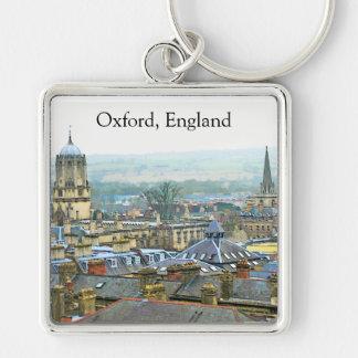Fantastisch Uitzicht, Oxford, Engeland, Dak Zilverkleurige Vierkante Sleutelhanger