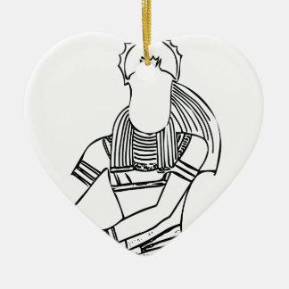 Farao 1 van de mestkever keramisch hart ornament