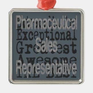 Farmaceutische Vertegenwoordiger Extraordinaire Zilverkleurig Vierkant Ornament