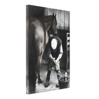 Farrier op het Werk - Desaturated Daguerrotype Canvas Afdruk