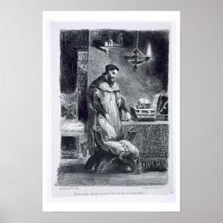 Faust in zijn Studie, van Faust van Goethe, 1828,  Poster