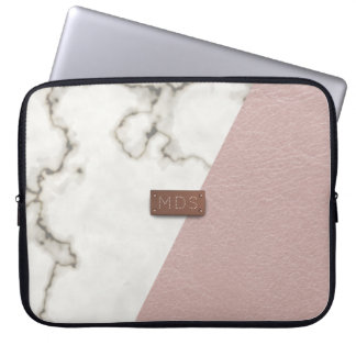 Faux bloost roze leer marmeren Laptop Sleeve