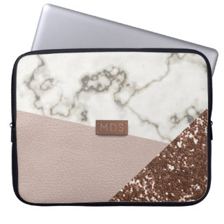 Faux bloost toenam Goud schittert Marmeren Laptop Laptop Sleeve