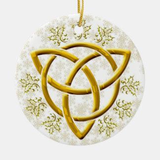 Faux Gouden tri-Quatra met Gouden Sneeuwvlokken op Rond Keramisch Ornament