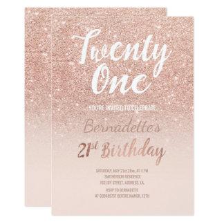 Faux nam goud schittert ombre 21ste Verjaardag toe 12,7x17,8 Uitnodiging Kaart