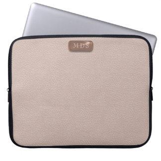 Faux nam Gouden Monogram bloost Roze Laptop Sleeve