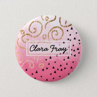 faux nam het gouden geometrische patroon roze ronde button 5,7 cm