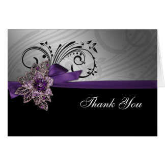 Faux Ribbon Mod purple Thank You Card