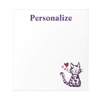 Faux schittert Paarse Kat met Harten Notitieblok