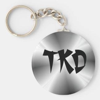 Faux Zilveren TKD Keychain Basic Ronde Button Sleutelhanger