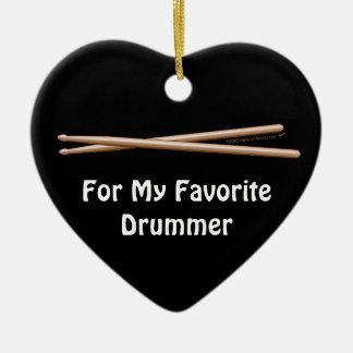 Favoriete drummer drumsticks personaliseerbaar keramisch hart ornament