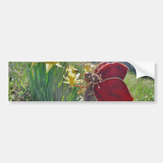 Fee en gele bloemen bumpersticker