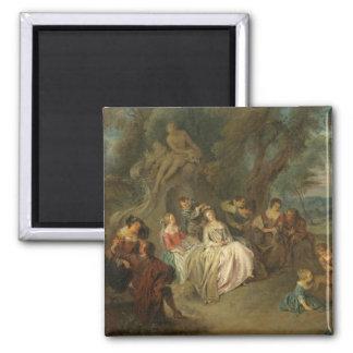 Feest Champêtre, c. 1730 (olie op canvas) Magneet