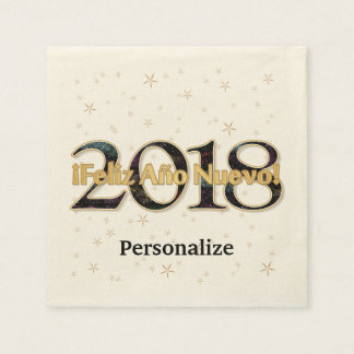 ¡ Feliz Año Nuevo! 2018 het Goud van het Vuurwerk Wegwerp Servetten