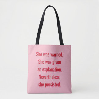 Feministe werd zij gewaarschuwd zij voortduurde draagtas