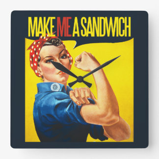 Feministisch maak me een Sandwich Vierkante Klok