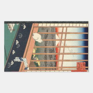 Festival. Ricefields en Torinomachi van Asakusa Rechthoekige Sticker