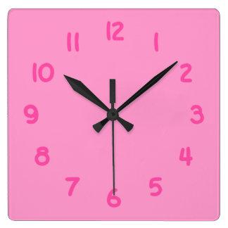 FF99CC roze Vierkante Klok