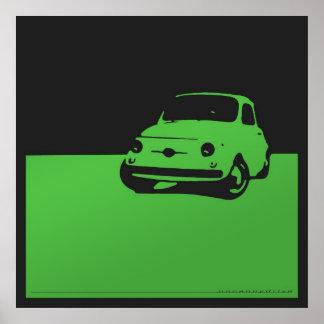 Fiat 500, 1959 - Groen op houtskoolzwarte Poster